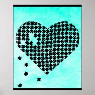Coeur bleu-clair de puzzle affiches
