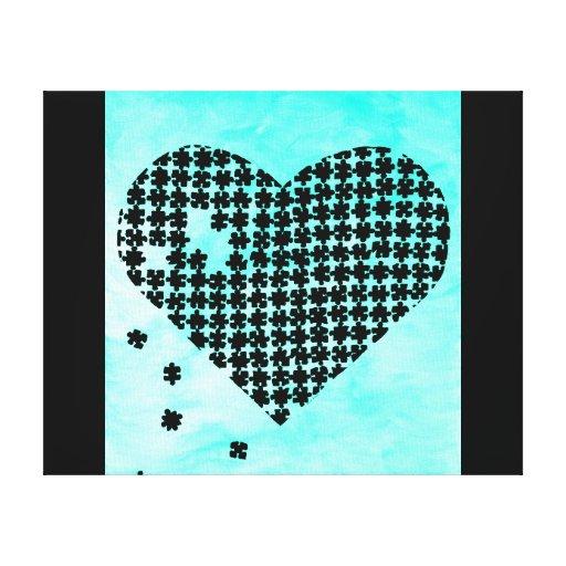 Coeur bleu-clair de puzzle toiles tendues