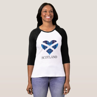 Coeur bleu de tartan t-shirt