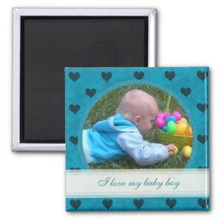 Coeur bleu encadré : Bébé : Aimant d'image