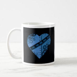 Coeur bleu-foncé romantique de steampunk mug blanc