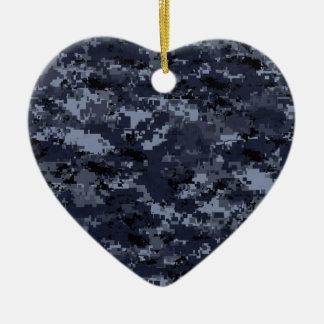 Coeur bleu militaire de Camo Ornement Cœur En Céramique