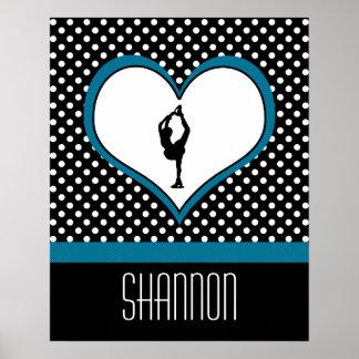 Coeur bleu - patinage artistique blanc de pois posters