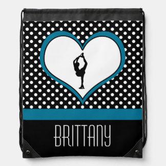 Coeur bleu - patinage artistique blanc de pois sac à dos