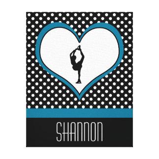 Coeur bleu - patinage artistique blanc de pois impression sur toile