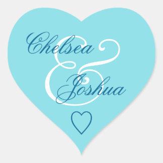 Coeur bleu V08 de mariage de phoque d'enveloppe Sticker Cœur