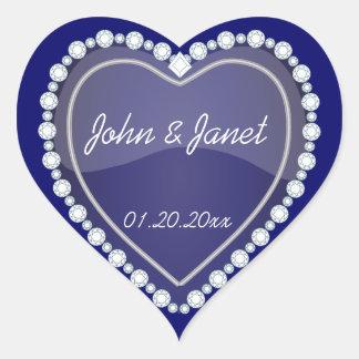 Coeur brillant de bleu marine d'amour élégant sticker cœur