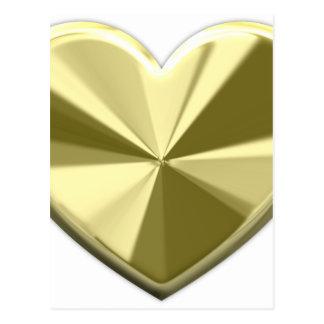 Coeur brillant d'or carte postale
