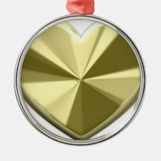 Coeur brillant d'or ornement rond argenté