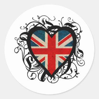 Coeur britannique décoratif adhésif rond