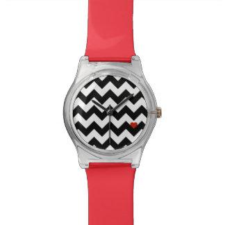 Coeur & Chevron - Noir/Rouge Classique Montres Bracelet