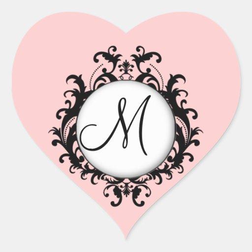 Coeur chic de rose d'étiquette de damassé d'initia autocollants
