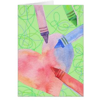 Coeur coloré - carte de note