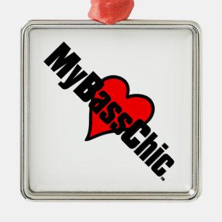 Coeur cramoisi de MyBassChic (TM) Ornement Carré Argenté