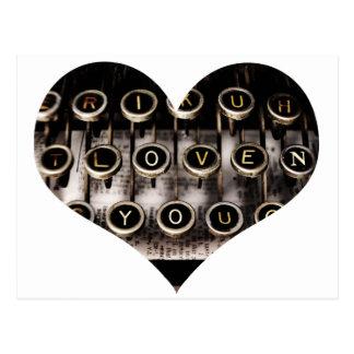 Coeur dactylographié carte postale
