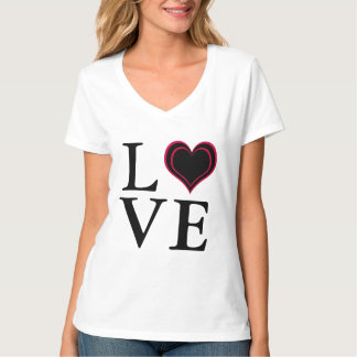Coeur d'AMOUR dans le noir et le rose T-shirt