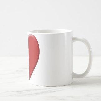 Cœur d'amour rouge mug blanc