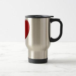 Cœur d'amour rouge mug de voyage en acier inoxydable