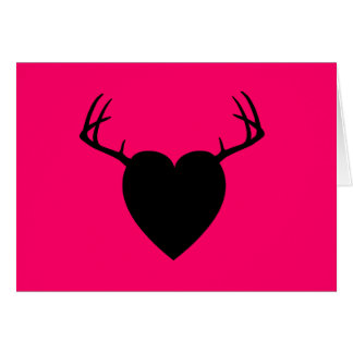 Coeur d'andouillers de chasse de cerfs communs cartes de vœux