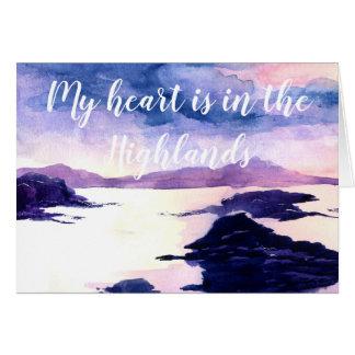 Coeur dans la carte de voeux pour aquarelle de