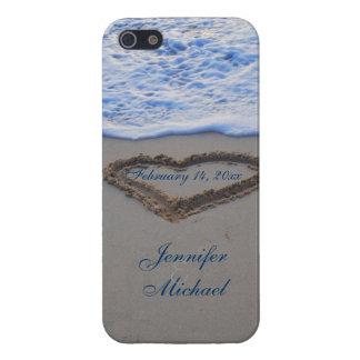 Coeur dans la date de Special de sable de plage Coque iPhone 5
