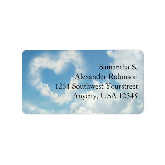Coeur dans les nuages, amour romantique de ciel étiquette d'adresse