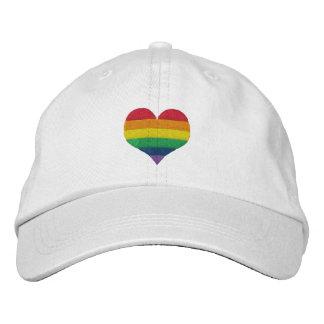 Coeur d'arc-en-ciel de gay pride casquette brodée