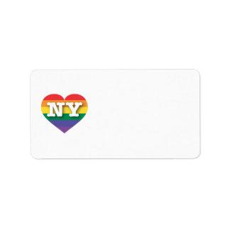 Coeur d'arc-en-ciel de gay pride de New York - Étiquette D'adresse