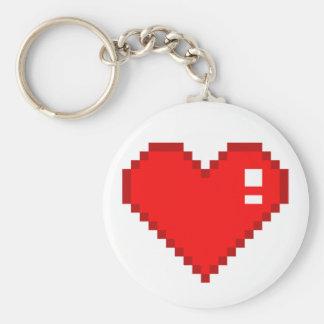 Coeur de 8 bits porte-clé rond
