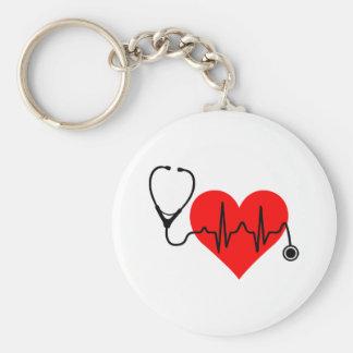 Coeur de battement de coeur de stéthoscope porte-clé rond