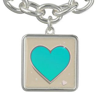 Coeur de bleu de turquoise de décembre de pierres bracelet