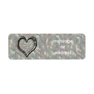Coeur de camouflage - région boisée étiquette d'adresse retour