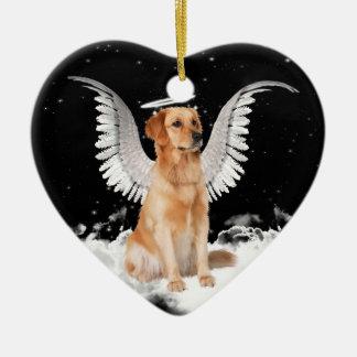 Coeur de chien d'ange de golden retriever ornement cœur en céramique