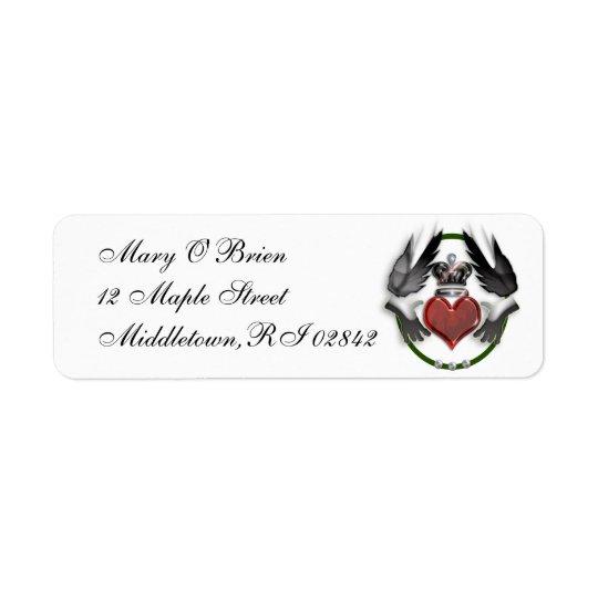 coeur de claddagh étiquettes d'adresse retour