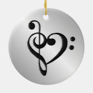 Coeur de clef de musique affligé ornement rond en céramique