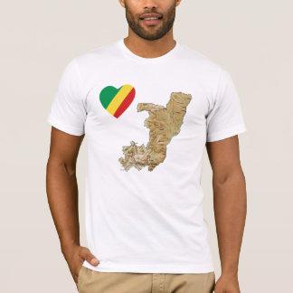 Coeur de drapeau de Congo-Brazzaville et T-shirt
