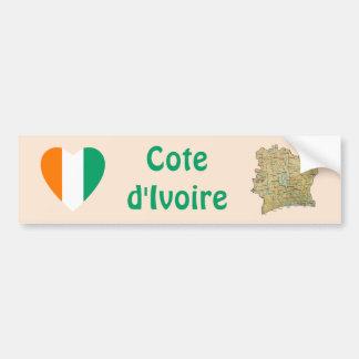 Coeur de drapeau de d'Ivoire de Cote + Adhésif Autocollant Pour Voiture