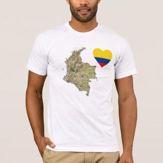 Coeur de drapeau de la Colombie et T-shirt de