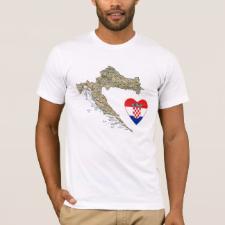 Coeur de drapeau de la Croatie et T-shirt de carte