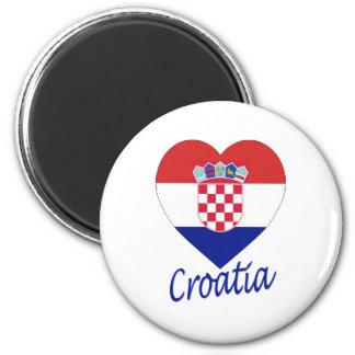 Coeur de drapeau de la Croatie Magnet Rond 8 Cm