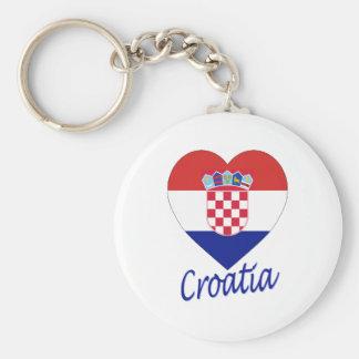 Coeur de drapeau de la Croatie Porte-clé Rond