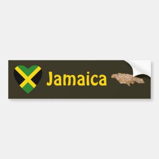 Coeur de drapeau de la Jamaïque + Adhésif pour par Autocollant Pour Voiture