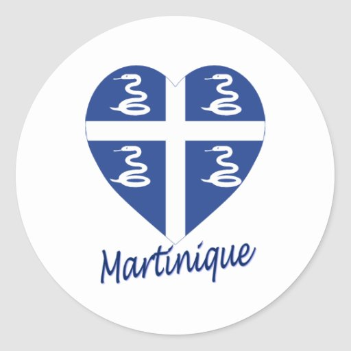 Coeur de drapeau de la Martinique Adhésifs Ronds