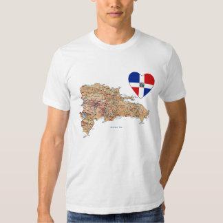 Coeur de drapeau de la République Dominicaine et T-shirts
