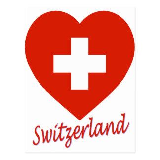 Coeur de drapeau de la Suisse Carte Postale