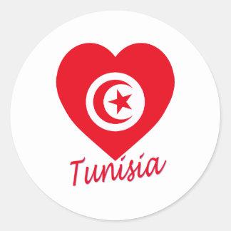 Coeur de drapeau de la Tunisie Autocollants