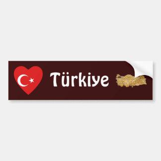 Coeur de drapeau de la Turquie + Adhésif pour Autocollant De Voiture