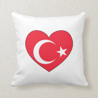 Coeur de drapeau de la Turquie Oreillers