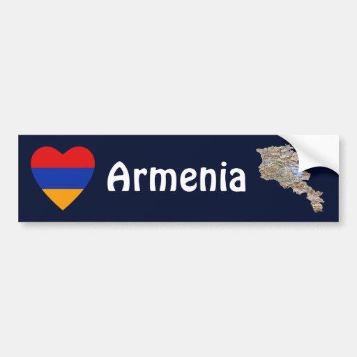 Coeur de drapeau de l'Arménie + Adhésif pour pare- Adhésif Pour Voiture