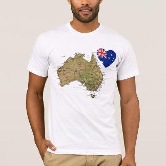 Coeur de drapeau de l'Australie et T-shirt de